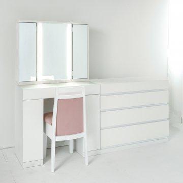 ラルゴ女優ミラー + チェスト90(パールホワイト)半三面鏡LEDドレッサー椅子付き【セット割】