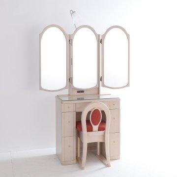 ローレル2:ミルキーホワイト】本3面鏡ドレッサー椅子付き