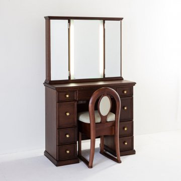 クラシックラルゴ女優ミラー(ウォールナット)半三面鏡LEDドレッサーアンティーク椅子付き