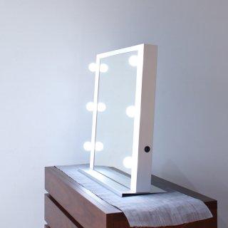 デスクトップ女優ミラー(パールホワイト)LED卓上ハリウッドミラー
