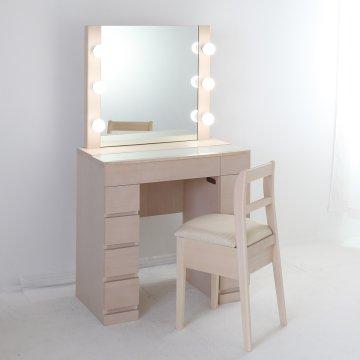 【次回9月中】クリスタルSofia女優ミラー(ミルキーホワイト)一面鏡ハリウッドミラー LEDドレッサー椅子付き