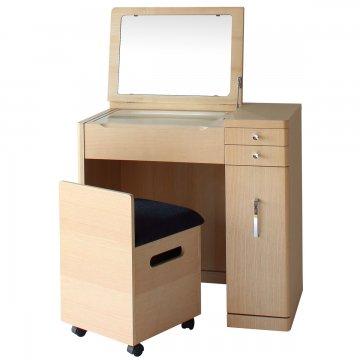 デスクドレッサーじょゆどれSugaoライトアップミラー(ナチュラル)一面鏡LEDドレッサー椅子付き
