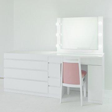 プリマ女優ミラー+チェスト90(パールホワイト)一面鏡ハリウッドミラー LEDドレッサー椅子付き