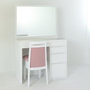 アダージョ(パールホワイト)一面鏡ワイドミラーホテルドレッサー椅子付き