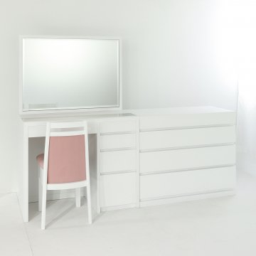 アダージョ + チェスト(パールホワイト)一面鏡ワイドミラーホテルドレッサー椅子付き【セット割】