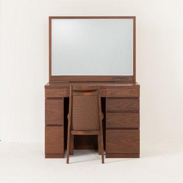 レント95(ウォールナット)デスク型一面鏡ワイドミラーホテルドレッサー椅子付き