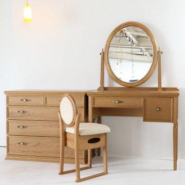 ロワール + チェスト(オークナチュラル)一面鏡クラシックドレッサー椅子付き【セット割】