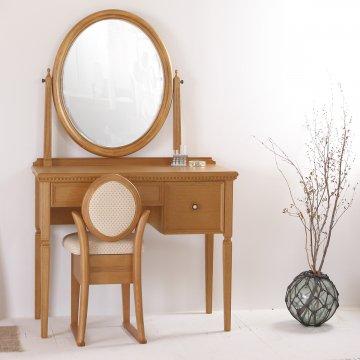 ロワール(オークナチュラル)一面鏡クラシックドレッサー椅子付き