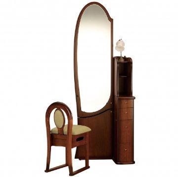 シャロン(アンティークブラウン)姿見クラシックドレッサー椅子・アームランプ付き