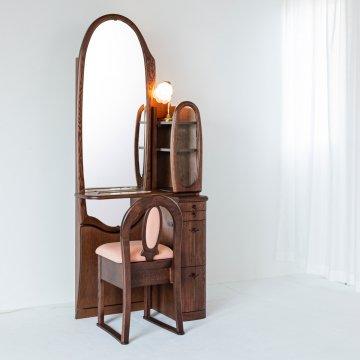 オパール2(アンティークウォールナット)姿見クラシックドレッサー椅子・アームランプ付き