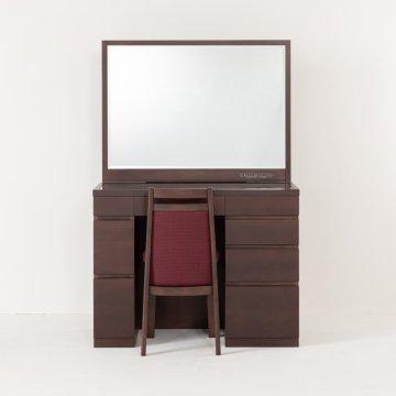 プレセディオ(ウェンジ)一面鏡ワイドミラーホテルドレッサー椅子・スタンドライト付き