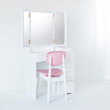 フェアリーテール(パールホワイト)半三面鏡ドレッサー椅子付き ハンドル3種類
