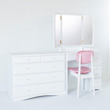 フェアリーテール三面鏡とチェスト】パールホワイト椅子付き ハンドル3種類