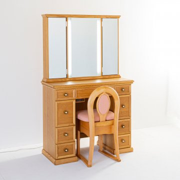 クラシックラルゴ女優ミラー(ナチュラル)半三面鏡LEDドレッサーアンティーク椅子付き