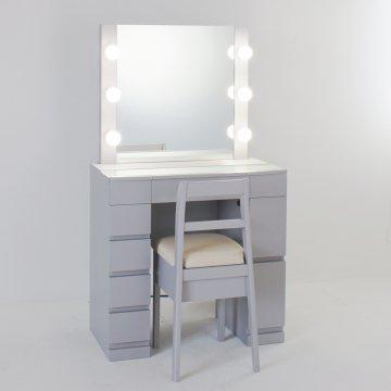 クリスタルSofia女優ミラー(グレージュ)一面鏡ハリウッドミラー LEDドレッサー椅子付き
