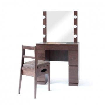 クリスタルSofia女優ミラー(ウォールナット)一面鏡ハリウッドミラー LEDドレッサー椅子付き