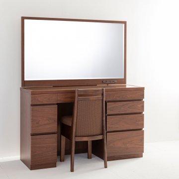 レント(ウォールナット)一面鏡120cmワイドミラーホテルドレッサー椅子付き