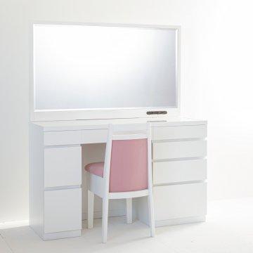 レント(パールホワイト)一面鏡120cmワイドミラーホテルドレッサー椅子付き