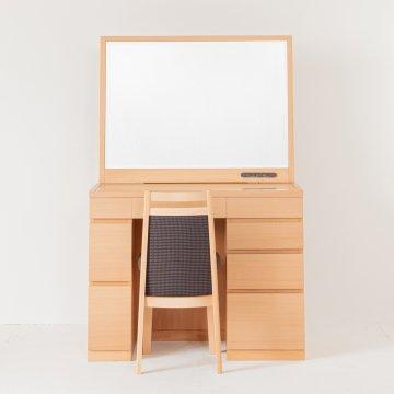 プレセディオ(ナチュラル)一面鏡ワイドミラーホテルドレッサー椅子・スタンドライト付き