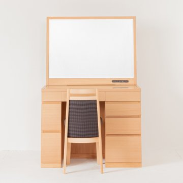 レント95(ナチュラル)デスク型一面鏡ワイドミラーホテルドレッサー椅子付き