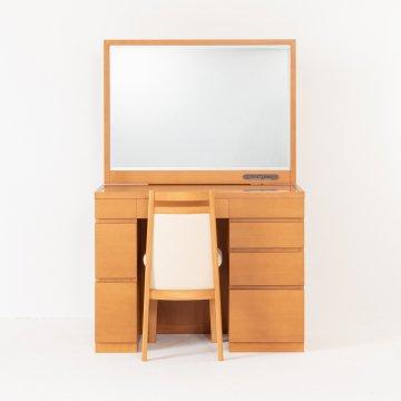 プレセディオ(ミディアムチェリー)一面鏡ワイドミラーホテルドレッサー椅子・スタンドライト付き