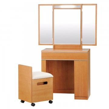 フルールライトアップミラー(ミディアムチェリー)収納半三面鏡LEDドレッサー椅子付き