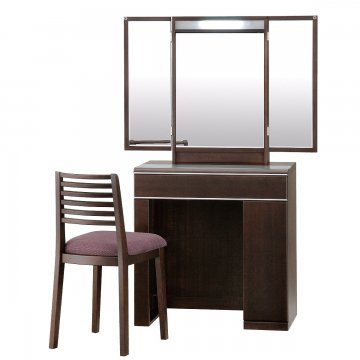 フルールライトアップミラー(ウェンジ)収納半三面鏡LEDドレッサー椅子付き