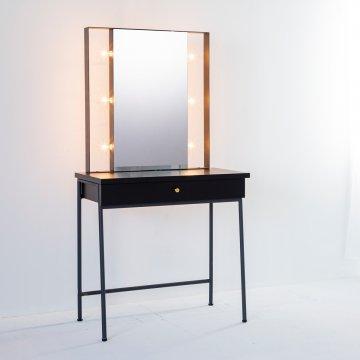 じょゆどれメイクスタジオ女優ミラー(ブラック)美容サロンセット台 一面鏡ハリウッドミラー ライトドレッサー