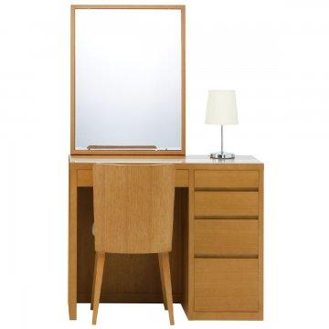 リッツ(ミディアムチェリー)一面鏡ホテルドレッサー椅子・スタンドライト付き