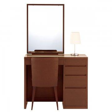 リッツ(ウォールナット)一面鏡ホテルドレッサー椅子・スタンドライト付き