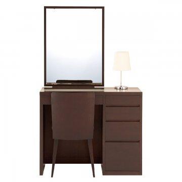 リッツ(ウェンジ)一面鏡ホテルドレッサー椅子・スタンドライト付き