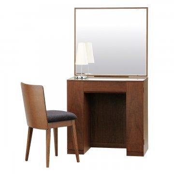クリスタル(ウォールナット)一面鏡ホテルドレッサー椅子・スタンドライト付き