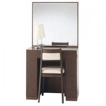 クリスタル(ウェンジ)一面鏡ホテルドレッサー椅子・スタンドライト付き