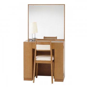 クリスタル(ミディアムチェリー)一面鏡ホテルドレッサー椅子・スタンドライト付き