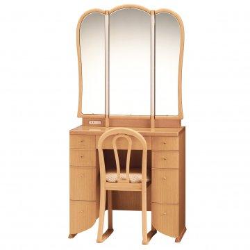 ミランダ女優ミラー(ナチュラル)半三面鏡LEDドレッサー椅子付き