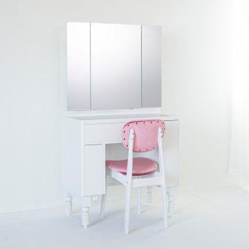 レディメイド(パールホワイト)収納半三面鏡ホテルドレッサー椅子付き
