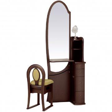 シャロン(ウェンジ)姿見クラシックドレッサー椅子・アームランプ付き