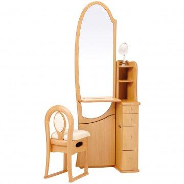 シャロン(ナチュラル)姿見クラシックドレッサー椅子・アームランプ付き