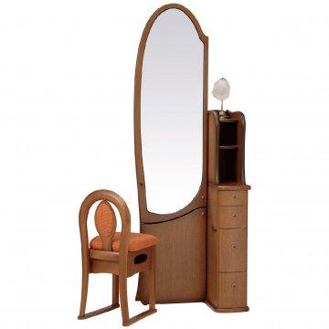 シャロン(ブラウン)姿見クラシックドレッサー椅子・アームランプ付き