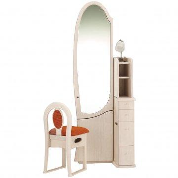 シャロン(アンティークホワイト)姿見クラシックドレッサー椅子・アームランプ付き