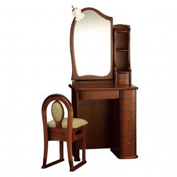 ルルキュート(アンティークブラウン)一面鏡クラシックドレッサー椅子・アームランプ付き