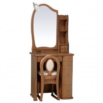 ルルキュート(ブラウン)一面鏡クラシックドレッサー椅子・アームランプ付き