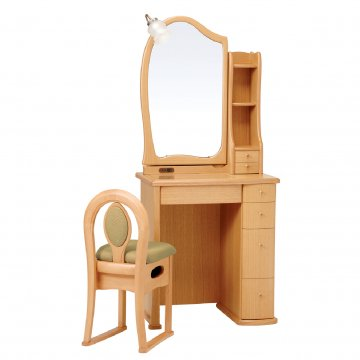 ルルキュート(ナチュラル)一面鏡クラシックドレッサー椅子・アームランプ付き