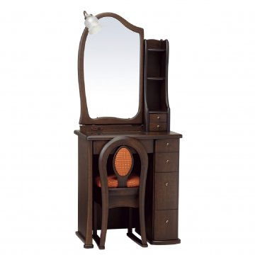 ルルキュート(ウェンジ)一面鏡クラシックドレッサー椅子・アームランプ付き
