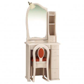 ルルキュート(アンティークホワイト)一面鏡クラシックドレッサー椅子・アームランプ付き