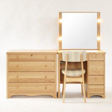 受注生産 タピオ女優ミラー + チェスト(ナラ・ナチュラル)北欧風一面鏡LEDドレッサー椅子付き【セット割】