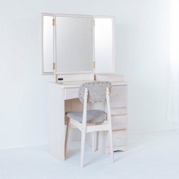 フェアリーテール(ミルキーホワイト)半三面鏡ドレッサー椅子付き ハンドル3種類