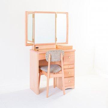 フェアリーテール(スモーキーピンク)半三面鏡ドレッサー椅子付き ハンドル3種類
