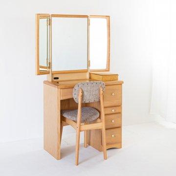 フェアリーテール(ナチュラル)半三面鏡ドレッサー椅子付き ハンドル3種類