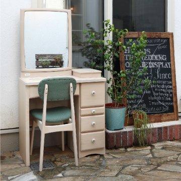 フェアリーテール(ミルキーホワイト)一面鏡ドレッサー椅子付き ハンドル3種類